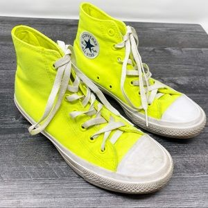 Converse yellow high tops shoes